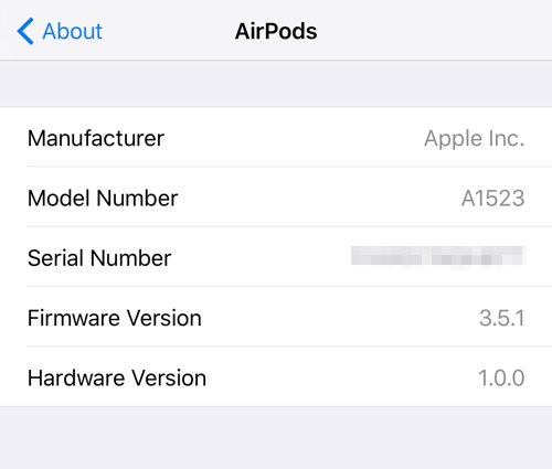 serial number for airpods